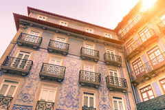 Facades of typical old town houses in Portugal Stock Photos