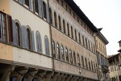 Facades of old houses in Florence, Italy royalty free stock images
