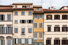 Facades of various medieval houses in Florence Royalty Free Stock Image