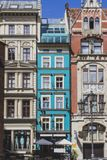 The facades of the vintage houses, tilt shift effect. The facades of the old retro vintage houses, tilt shift effect royalty free stock photography