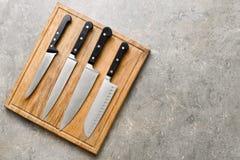 Facas de cozinha ajustadas Foto de Stock