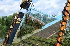 Facas e avisos da ceifeira da erva daninha do lago Imagem de Stock Royalty Free