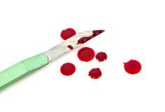 Facas verdes e sangue do cortador Imagem de Stock Royalty Free