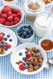Faccia colazione con granola, le bacche, il miele ed il yogurt, vista superiore Fotografie Stock Libere da Diritti