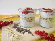 Faccia colazione con yogurt, i semi di chia, la farina d'avena e le bacche Immagini Stock Libere da Diritti
