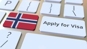 FACCIA DOMANDA PER il testo di VISTO e la bandiera della Norvegia sui bottoni sulla tastiera di computer Animazione concettuale 3 stock footage