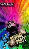Faccia festa l'aletta di filatoio del club per l'evento di musica con l'esplosione dei colori Fotografie Stock Libere da Diritti