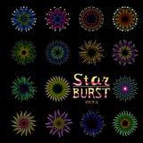 Faccia festa l'illustrazione stabilita di vettore del piano dell'icona del fuoco d'artificio di evento di festa Fotografie Stock