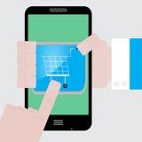 Faccia i apps degli acquisti dal vostro telefono Fotografia Stock Libera da Diritti