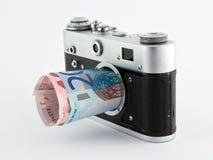 Faccia i soldi con la vendita della fotografia Immagine Stock