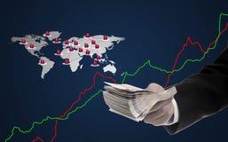 Faccia i soldi dal commercio elettronico, acquisto di Internet Fotografia Stock Libera da Diritti