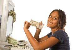 Faccia i soldi dal Internet Immagine Stock Libera da Diritti