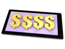 Faccia i soldi dell'oro su uno Smart Phone Fotografia Stock