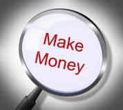 Faccia i soldi rappresenta i guadagni e gli stipendi di ricerche Fotografia Stock