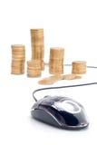 Faccia i soldi sopra il Internet Immagini Stock