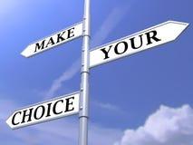 Faccia il vostro concetto choice su cielo blu Fotografie Stock