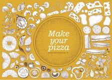 Faccia il vostro insieme della pizza delle illustrazioni disegnate a mano per pizza Vettore isolato Può essere l'uso per la pizze Immagini Stock Libere da Diritti