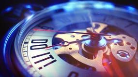 Faccia l'IT - espressione sull'orologio da tasca d'annata illustrazione 3D Fotografia Stock Libera da Diritti