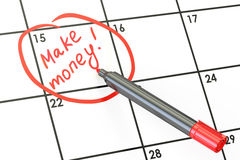 Faccia la data dei soldi sul concetto del calendario, la rappresentazione 3D Fotografia Stock Libera da Diritti
