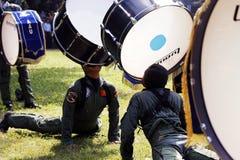 Faccia la fanfara dai cadetti di aeronautica indonesiani. Immagine Stock