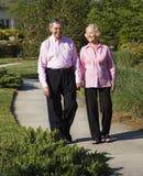 Faccia maturare camminare delle coppie. Fotografie Stock Libere da Diritti