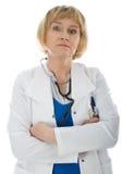 Faccia maturare il medico della donna isolato Fotografie Stock Libere da Diritti