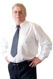 Faccia maturare l'insegnante o l'uomo d'affari sorridente isolato su bianco Fotografia Stock Libera da Diritti