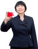 Faccia maturare la donna sorridente di affari Immagini Stock Libere da Diritti