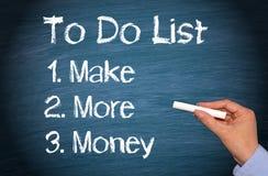 Faccia più soldi per fare la lista Immagini Stock