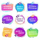 Faccia riferimento i distintivi dell'amico Distintivo di programma di rinvio, autoadesivo di vendita del megafono del commesso e  illustrazione vettoriale