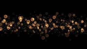 Faccia segno al grafico delle luci del bokeh di Natale dell'oro - ciclo senza cuciture stock footage