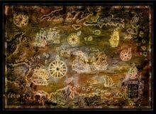 Faccia tesoro la mappa del mar dei Caraibi con le barche a vela del pirata, le bussole, isole sul nero royalty illustrazione gratis
