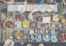 Faccia un calendario di appuntamento programmare la progettazione dell'organizzazione concentrata Fotografia Stock Libera da Diritti