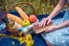 Faccia un picnic in natura all'estate, canestro con alimento Giovane donna con la a Immagini Stock Libere da Diritti