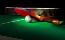 Faccia un rumore metallico l'azzurro di cielo della sfera del pong della pala e di rumore metallico di tennis di Pong Fotografie Stock