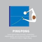 Faccia un rumore metallico l'azzurro di cielo della sfera del pong della pala e di rumore metallico di tennis di Pong Fotografia Stock