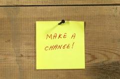 Faccia una nota del cambiamento Fotografie Stock