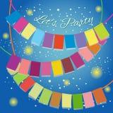 Facciamo festa per celebrare le bandiere colourful illustrazione di stock