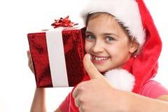 Facciamo i sogni avverarci Bambino felice con il regalo di natale Fotografia Stock Libera da Diritti