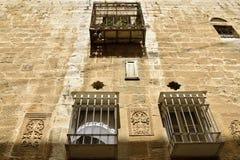Facciata antica della casa in vecchia città di Gerusalemme Immagini Stock