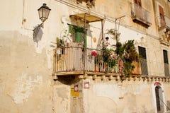 Facciata con il balcone Immagini Stock Libere da Diritti