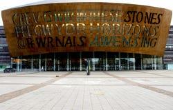 Facciata del centro di millennio del Galles, Cardiff. immagini stock