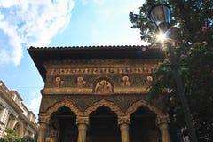 Facciata del dettaglio del monastero di Stavropoleos Fotografie Stock Libere da Diritti