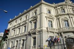 Facciata del Linares del palazzo nella capitale della Spagna, Madrid Fotografia Stock