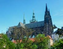 Facciata del nord della cattedrale della st Vitus, Praga Fotografia Stock Libera da Diritti
