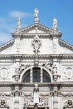 Facciata del tempio cattolico a Venezia Fotografia Stock