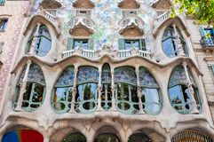 Facciata dell'edificio di Battlo della casa, Barcellona, Spagna Fotografia Stock Libera da Diritti