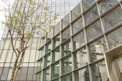Facciata dell'edificio per uffici moderno con la parete di vetro, esterno di costruzione di affari, costruzione commerciale ester Fotografie Stock Libere da Diritti