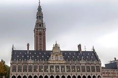 Facciata della biblioteca universitaria di Lovanio, Belgio Fotografie Stock Libere da Diritti