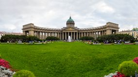 Facciata della cattedrale di Kazan a St Petersburg Fotografia Stock